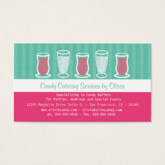 Turquoise and Pink Candy Catering Business Card