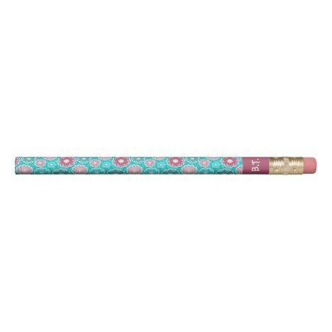Turquoise and pink circular floral monogram pencil