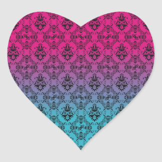 Turquoise and Pink Damask Heart Sticker