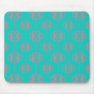 Turquoise and PInk Damask Pattern Mouse Pads