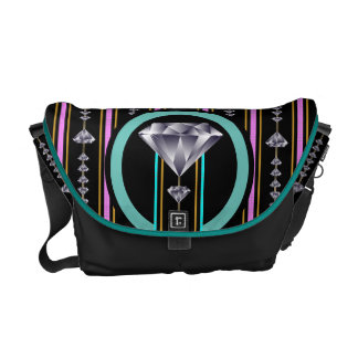 Turquoise and Pink Double Diamond Courier Bags