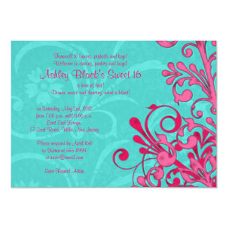 Turquoise and Pink Floral Sweet 16 Birthday Invite