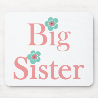Turquoise and Pink Flower Big Sister Mouse Pad