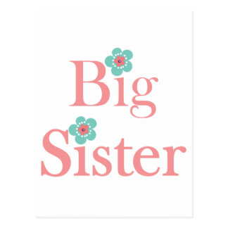 Turquoise and Pink Flower Big Sister Postcard