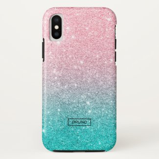 Turquoise and pink glitter ombre Case-Mate iPhone case