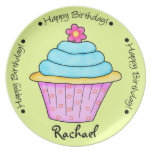 Turquoise and Pink Happy Birthday Cupcake Plate
