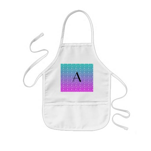 Turquoise and pink hearts monogram aprons