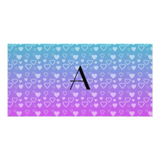 Turquoise and pink hearts monogram photo card template