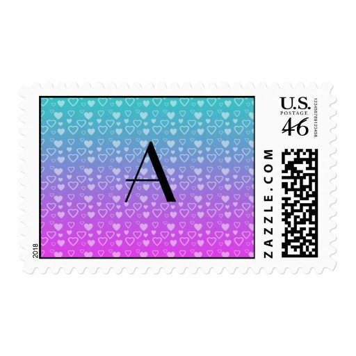 Turquoise and pink hearts monogram stamp