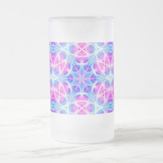 Turquoise and Pink Hippie Mandala Pattern Frosted Glass Beer Mug