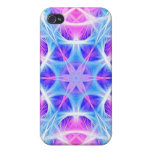 Turquoise and Pink Hippie Mandala Pattern Cover For iPhone 4