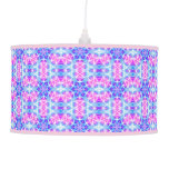 Turquoise and Pink Hippie Mandala Pattern Pendant Lamps