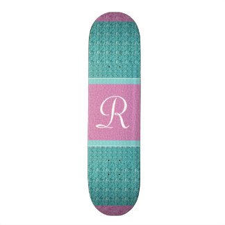 Turquoise and Pink (Letter R) Monogram Skateboard Deck