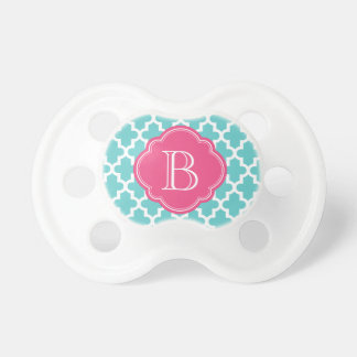 Turquoise and Pink Modern Moroccan Custom Monogram Pacifier