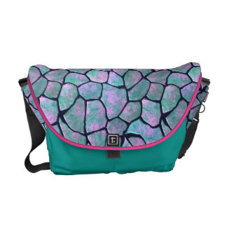 Turquoise and pink mosaic stones seamless pattern courier bag