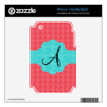 Turquoise and pink roses monogram skins for the iPhone 3G