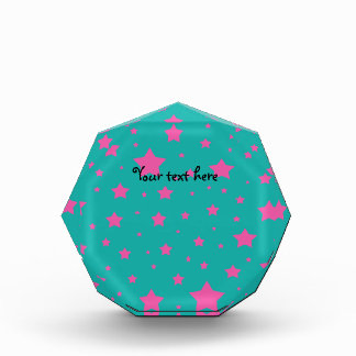 Turquoise and pink stars pattern award