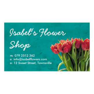 Turquoise and Pink Tulip Florist Business Card