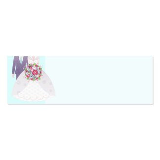 Turquoise and Pink Wedding Bride and Groom Double-Sided Mini Business Cards (Pack Of 20)