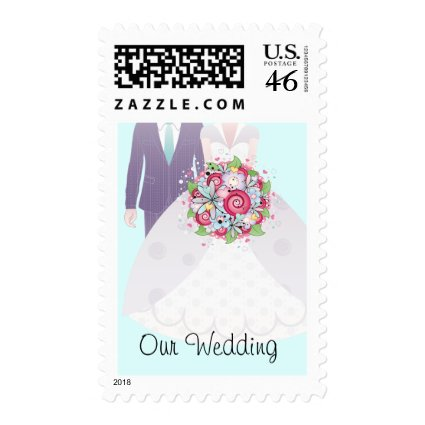 Turquoise and Pink Wedding Bride and Groom Stamps
