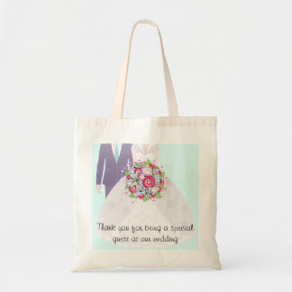 Turquoise and Pink Wedding Bride and Groom Tote Bag