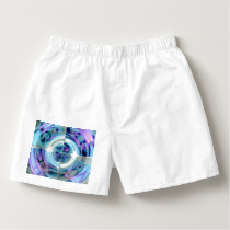 Turquoise and Purple Abstract Collage Boxers