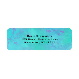 Turquoise and Purple Abstract with Faded Flowers Label