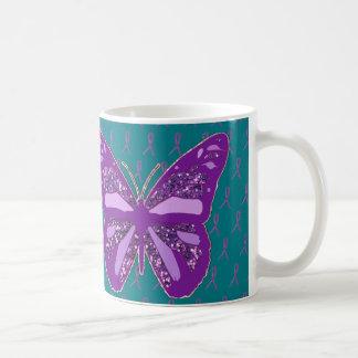 Turquoise and Purple Awareness Ribbons Coffee Mug