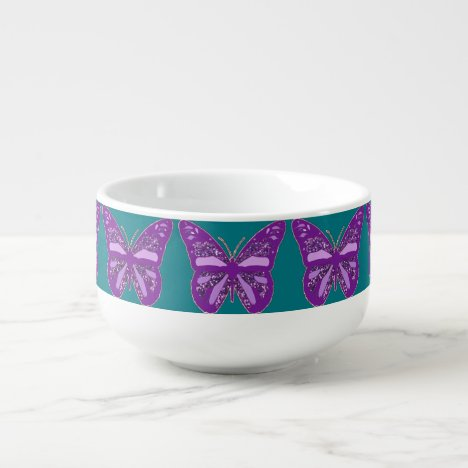 Turquoise and Purple Butterfly Jumbo Soup Cup