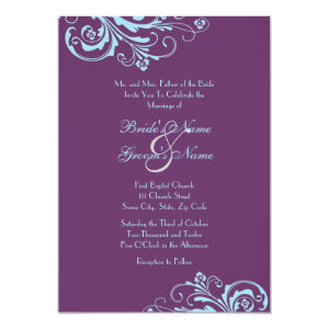Turquoise and Purple Chic Wedding Invitation 5