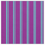 [ Thumbnail: Turquoise and Purple Colored Stripes Fabric ]