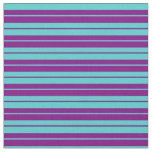 [ Thumbnail: Turquoise and Purple Colored Stripes Pattern Fabric ]