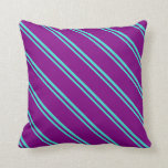 [ Thumbnail: Turquoise and Purple Colored Stripes Throw Pillow ]