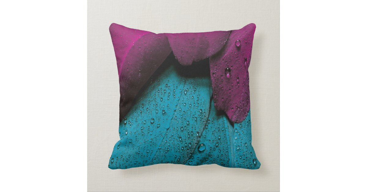 Turquoise And Purple Decorative Pillows : Turquoise and Purple Feathers Throw Pillow Zazzle