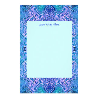 Turquoise and Purple Glass Abstract personalize Stationery