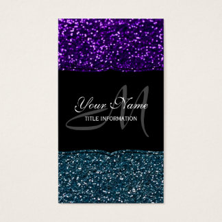 Turquoise and Purple Glitter Sparkles Business Card
