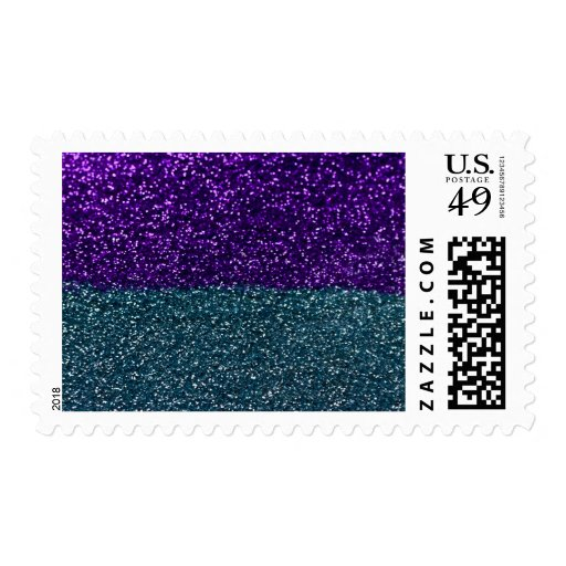Turquoise and Purple Glitter Sparkles Postage Stamp