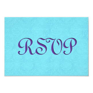 Turquoise and Purple RSVP Vintage Damask Wedding Card