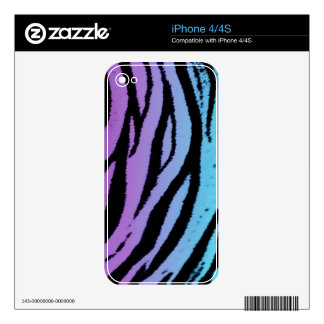 Turquoise and Purple Tiger Skins Skins For iPhone 4S