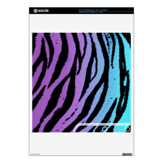 Turquoise and Purple Tiger Skins PS3 Slim Console Decal