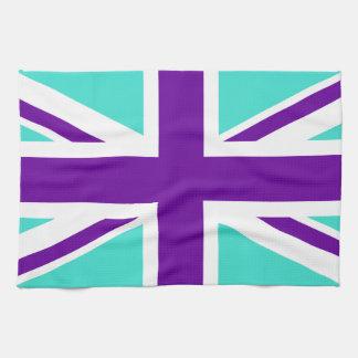 Turquoise and Purple Union Jack Towel