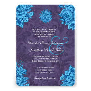 Turquoise and Purple Vintage Flowers Wedding V24 Card
