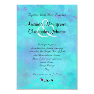 Turquoise And Purple Watercolor Abstract Wedding Invitation