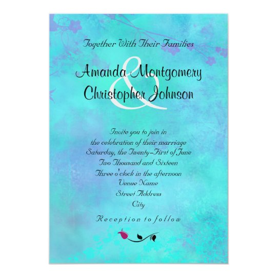 Turquoise and Purple Watercolor Abstract Wedding Invitation | Zazzle.com