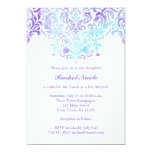 Turquoise and Purple Watercolor Damask Bat Mitzvah Card