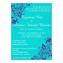 Turquoise and Purple Wedding Invitation