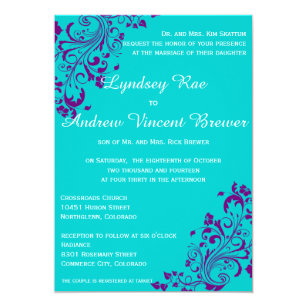 Purple and Turquoise Wedding Invitations New Rustic Green Purple ...