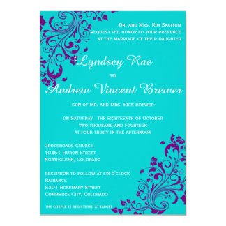 Turquoise And Purple Wedding Invitation