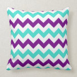 Turquoise and Purple Zigzag Pillow