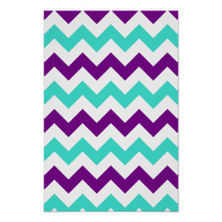 Turquoise and Purple Zigzag Poster